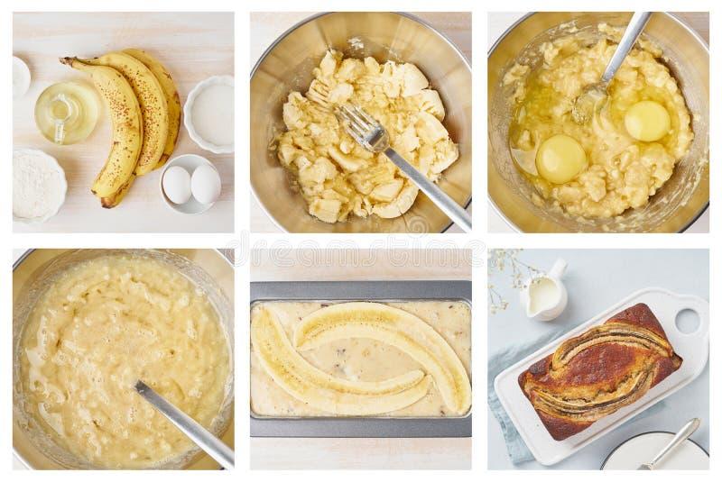 Bananbr?d Collage steg-f?r-steg recept Kaka med bananen amerikansk kokkonst royaltyfri fotografi