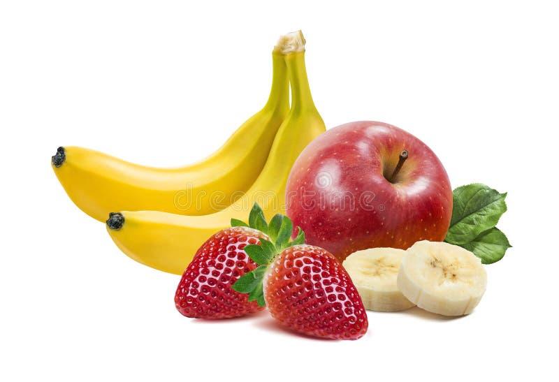 Banane, Äpfel und Erdbeere 2 auf weißem Hintergrund lizenzfreie stockbilder