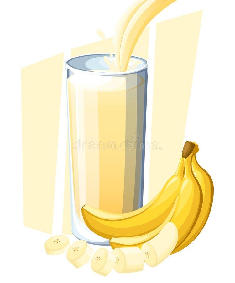 Banane avec du jus frais de lait Boisson de fruit frais en verre Smoothies de banane Écoulement et éclaboussure de jus en plein v illustration libre de droits
