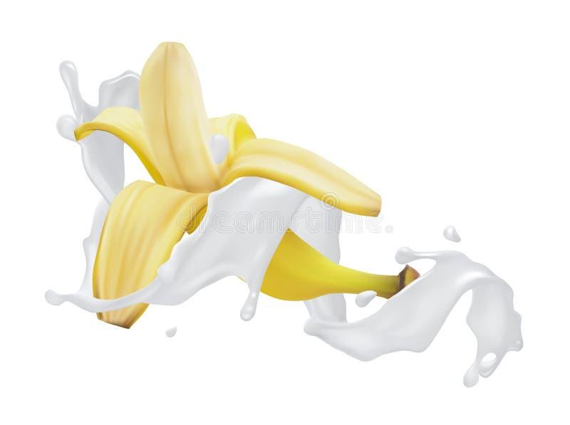 Banane avec une ?claboussure de lait ou de yaourt illustration libre de droits