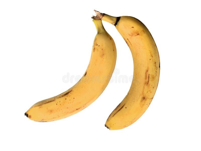 Banane deux mûre jaune d'isolement sur le fond blanc images stock