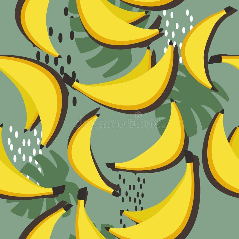 Banane e foglie di palma mature, fondo decorativo Modello senza cuciture variopinto con i frutti royalty illustrazione gratis