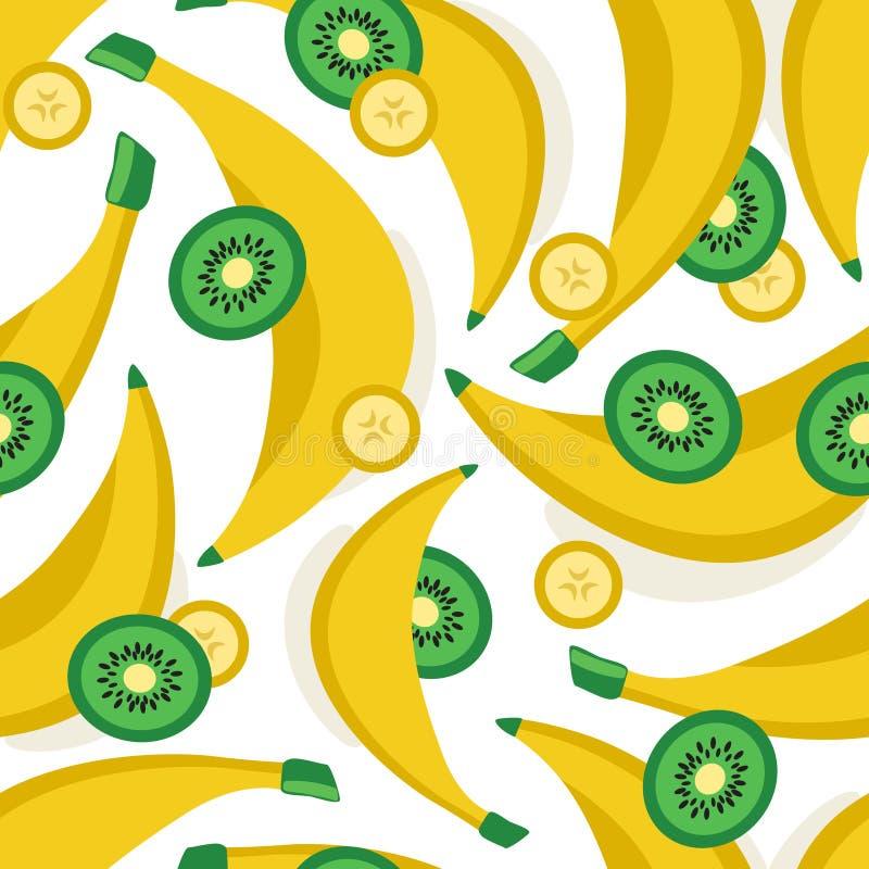 Banane e fondo freschi del kiwi Modello senza cuciture variopinto con i frutti illustrazione di stock
