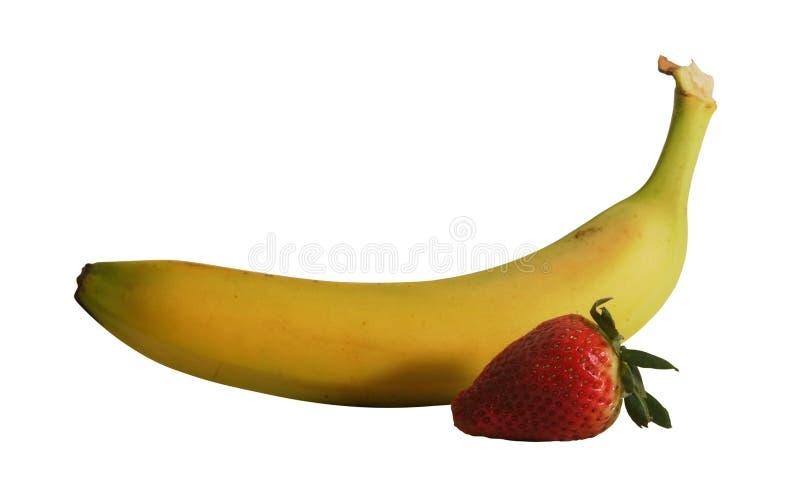 Banane et fraise avec le chemin photo stock