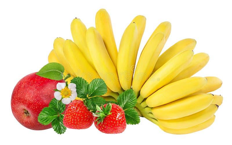 Banane, fragole e mele isolate su bianco immagine stock