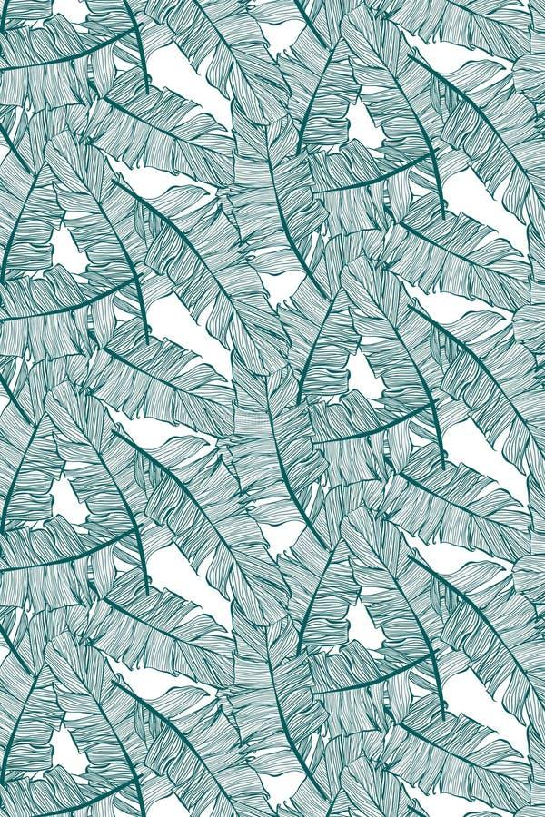 Banane lässt nahtloses Muster in den grünen Tönen, mit Bananenblätter illustation lizenzfreie abbildung