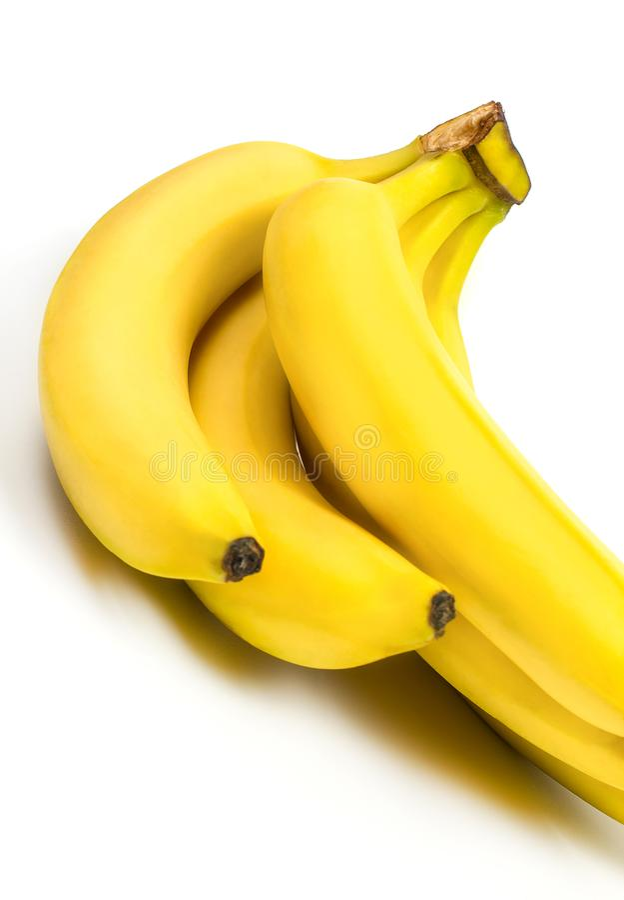 Banane mûre pour le régime et l'exercice sur fond blanc images stock