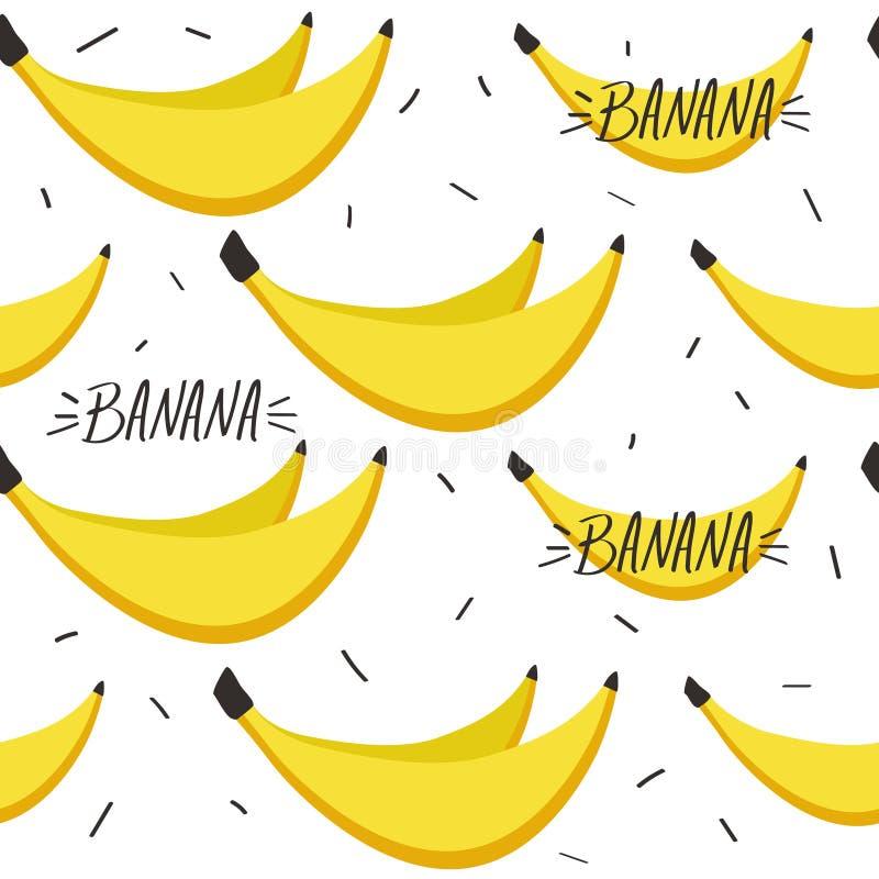 Banane mature, modello senza cuciture variopinto Fondo decorativo con i frutti illustrazione vettoriale