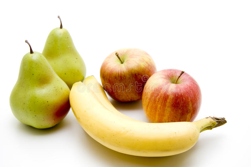 Banane mit Apfel lizenzfreies stockbild