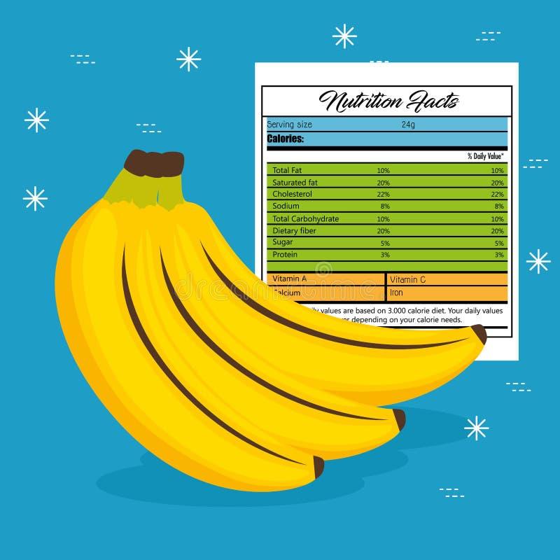 Banane mit Nahrungstatsachen lizenzfreie abbildung