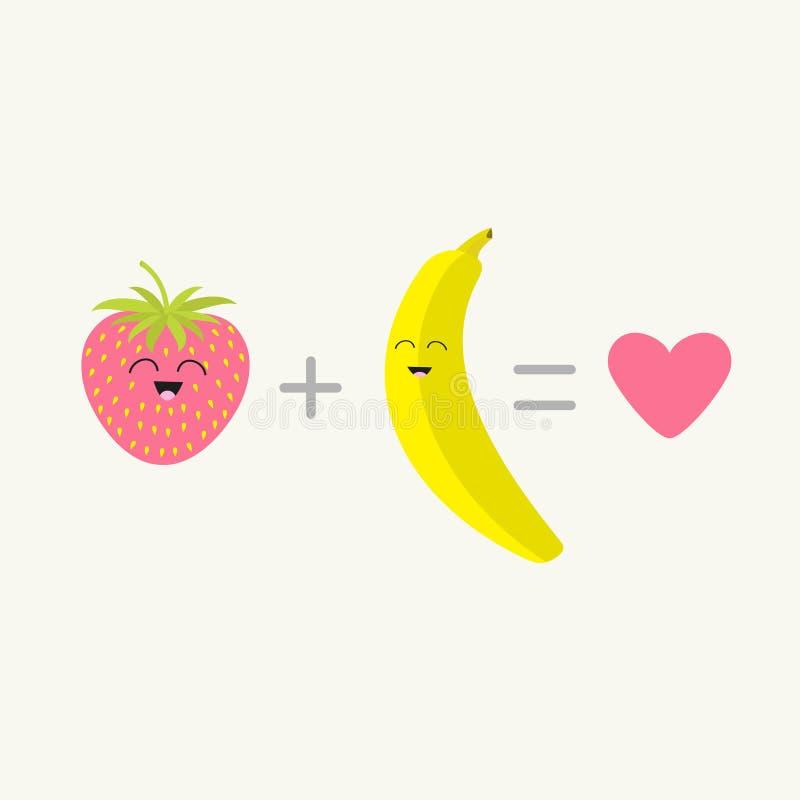 Banane plus l'amour d'égal de fraise Ensemble heureux de fruit de coeur rose Visage de sourire Caractère de sourire de bande dess illustration stock