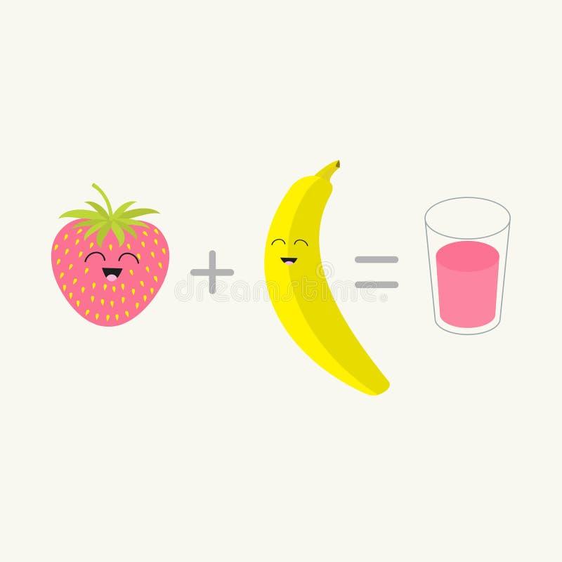 Banane plus le verre frais d'égal de fraise de la secousse de smoothie de jus Ensemble heureux de fruit Caractère de sourire de v illustration libre de droits
