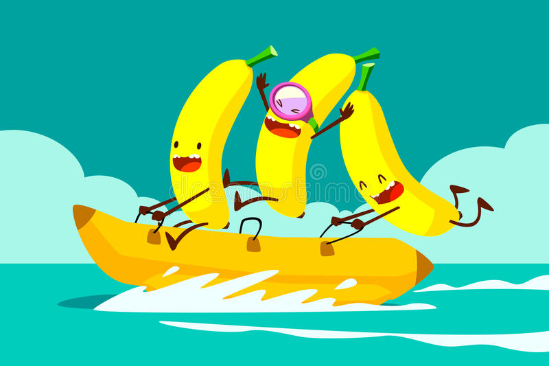 Banane sulla barca di banana illustrazione di stock