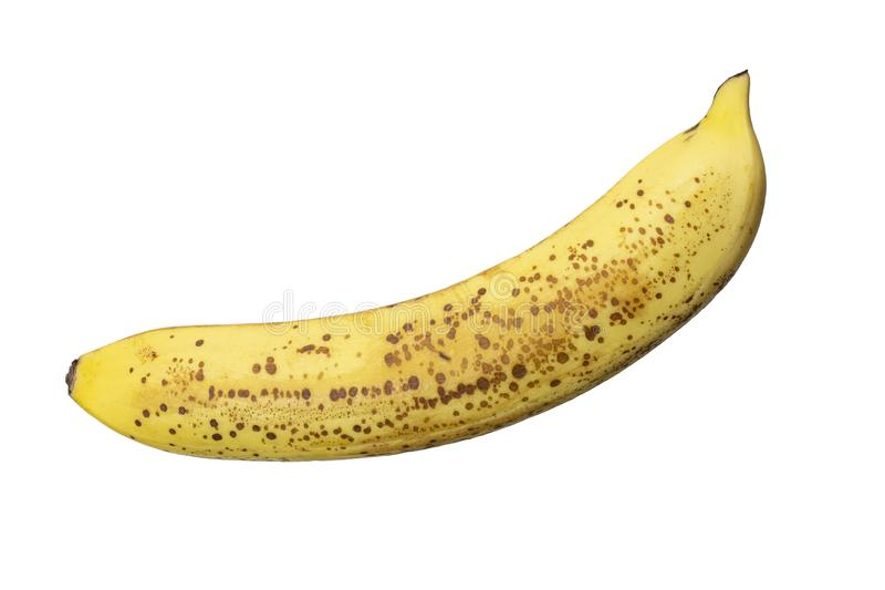 Banane tachet?e jaune m?re d'isolement sur le fond blanc images stock