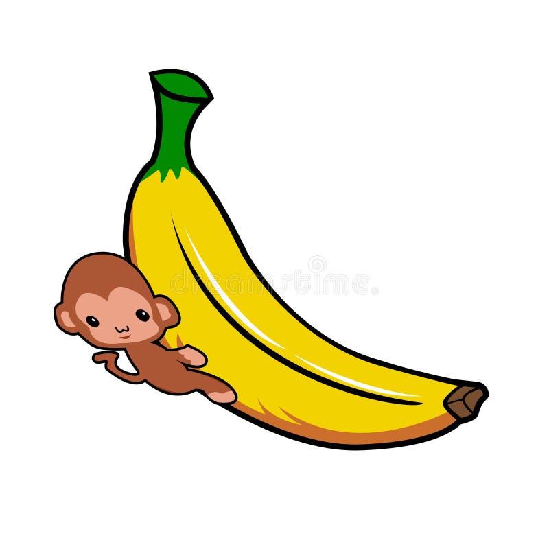 Banane und Affe umarmt stock abbildung