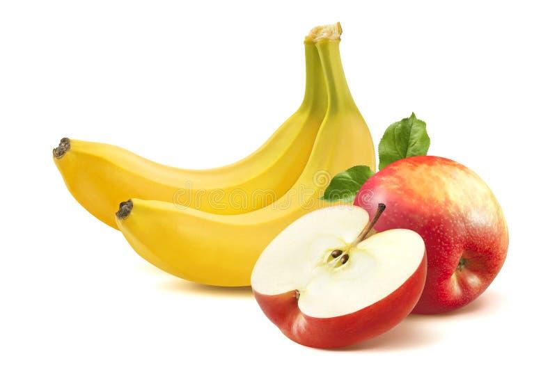 Banane und Apfel auf weißem Hintergrund lizenzfreie stockfotografie