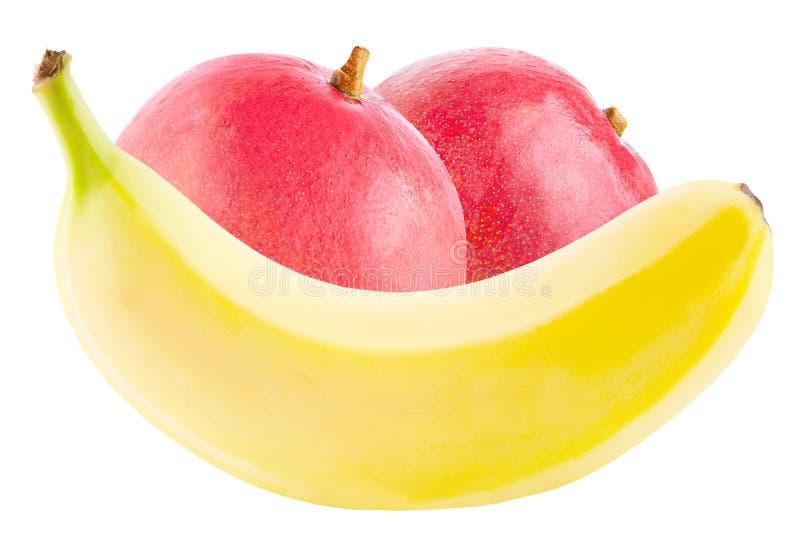 Banane und Mango auf weißem Hintergrund stockbild