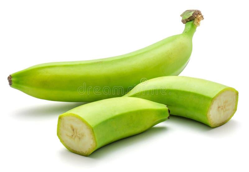 Banane verte de plantain d'isolement photo libre de droits