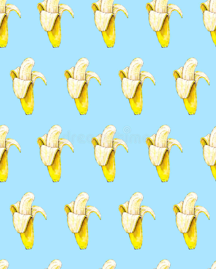 Bananen auf blauem Hintergrund Nahtloses Muster Dekoratives Bild einer Flugwesenschwalbe ein Blatt Papier in seinem Schnabel Trop lizenzfreie abbildung