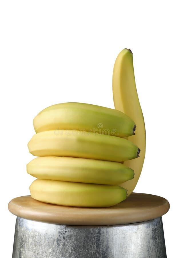 Bananen in de vorm van een hand met de omhoog duim, zoals gezond voedselconcept royalty-vrije stock afbeelding