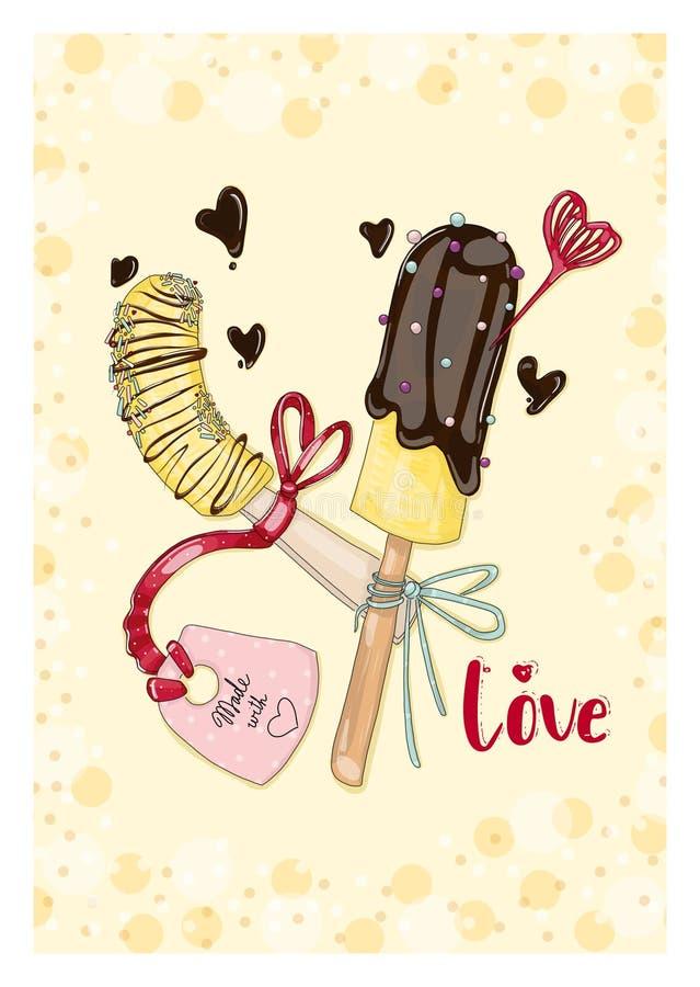 Bananen in der Schokolade mit Tag in der Liebe lizenzfreie abbildung