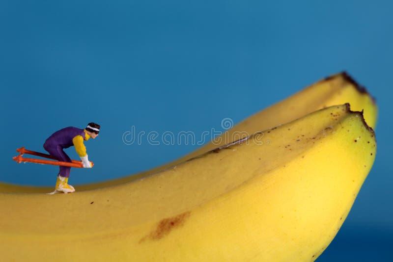 bananen figures skidåkningsnow arkivfoto