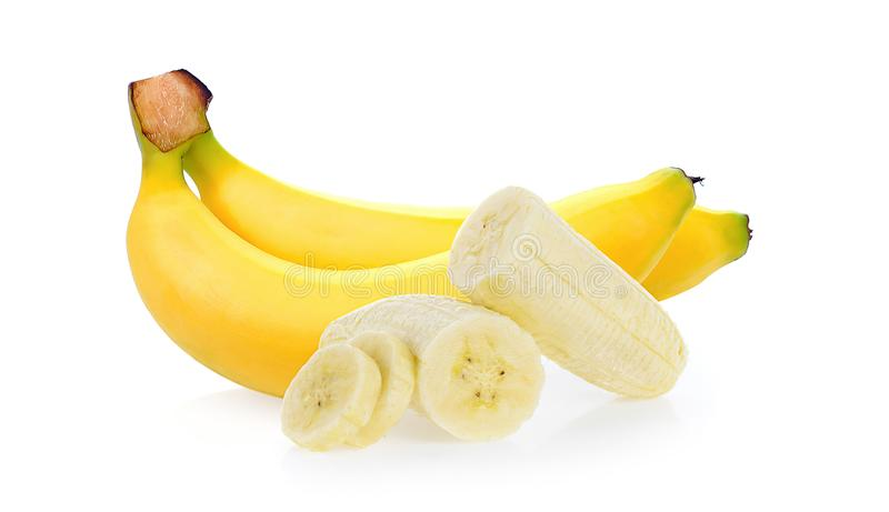 Bananen getrennt auf weißem Hintergrund lizenzfreie stockfotos