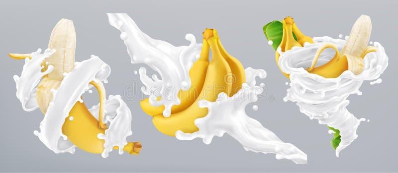 Bananen och mjölkar färgstänk, yoghurt vektor för symbol 3d vektor illustrationer