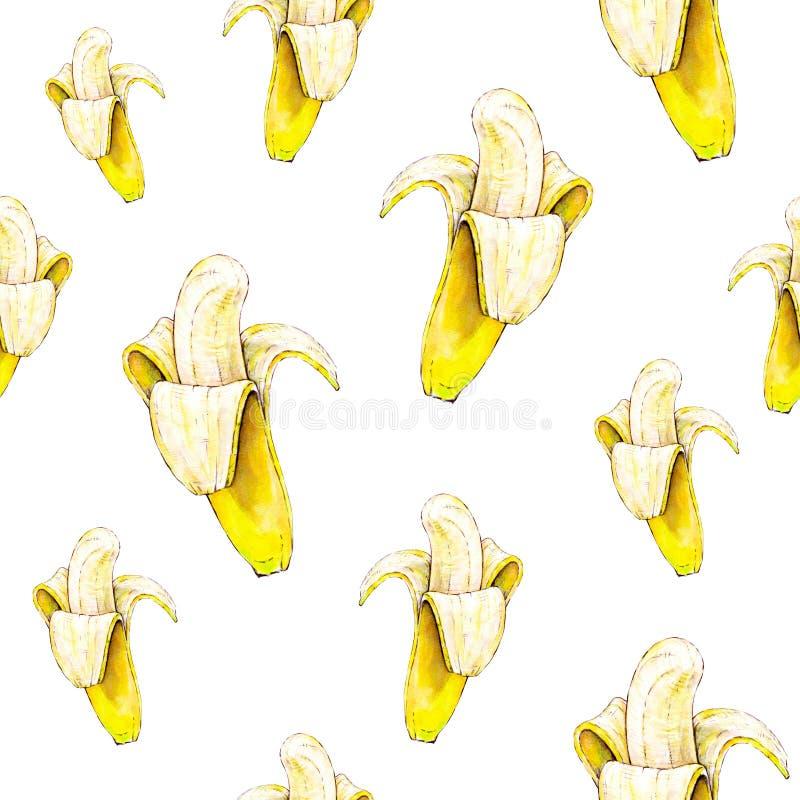 Bananen op witte achtergrond Naadloos patroon De illustratie van de waterverf Tropisch Fruit Handwork royalty-vrije illustratie