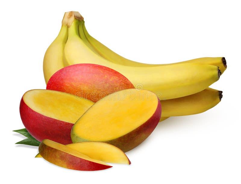 Bananen und Mango lokalisiert auf weißem Hintergrund lizenzfreie stockfotos