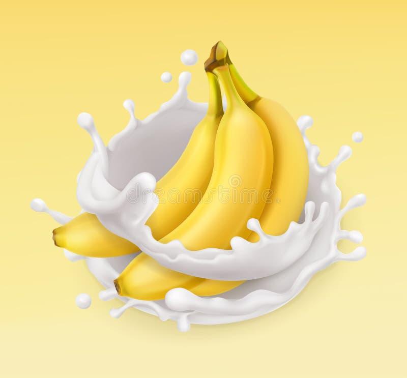 Bananen- und Milchspritzen Frucht und Joghurt Übersetzt Ikone vektor abbildung