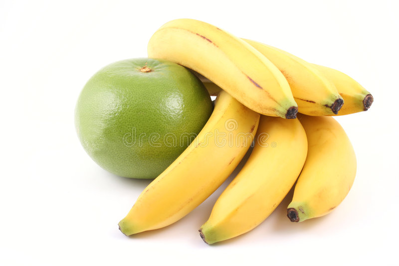 Bananen und Pampelmuse lizenzfreies stockbild