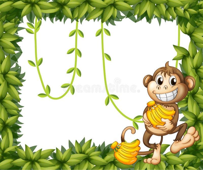 Bananen van een de gelukkige aapholding stock illustratie