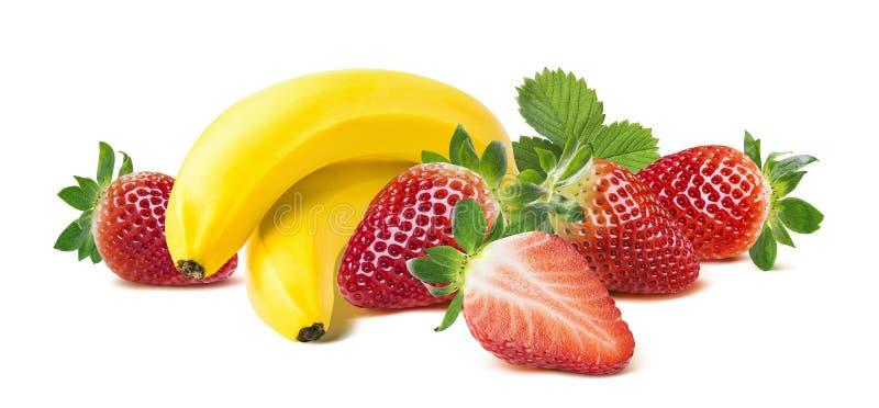 Bananenerdbeerhorizontale Zusammensetzung auf weißem backg stockbild