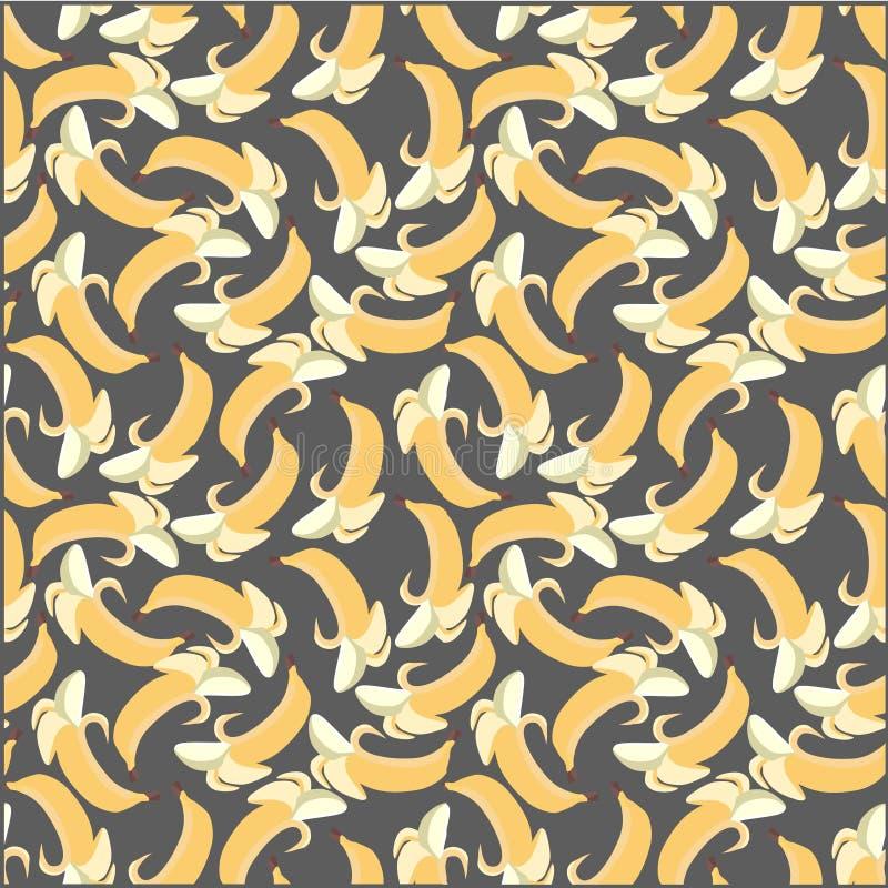 Bananenpatroon op grijze achtergrond stock illustratie