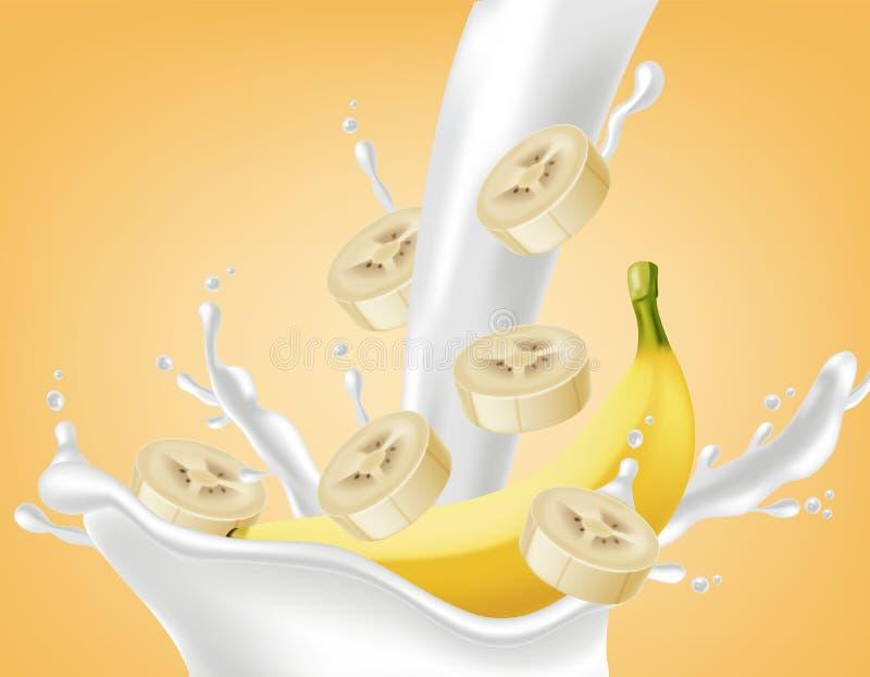 Bananenspritzen Vektor realistisch Pourring Flüssigkeit des Joghurts oder der Milch Schein oben für Aufkleberentwürfe lizenzfreie abbildung