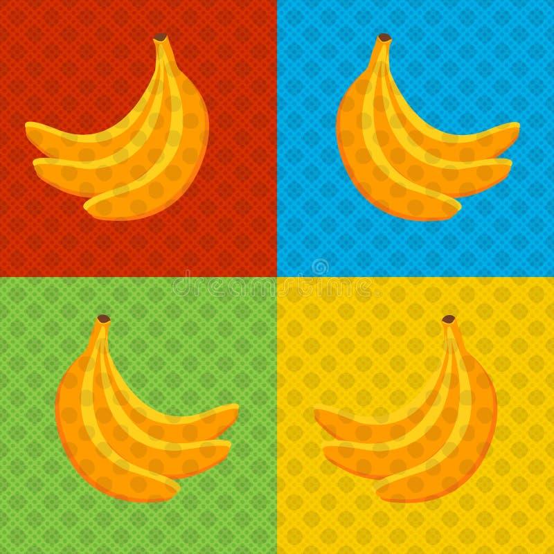Bananer - affisch för stil för popkonst royaltyfri illustrationer