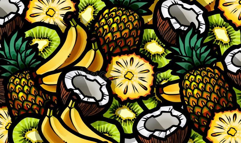 Bananer, kokosnötter, ananors och ny frukt för kiwi blandar royaltyfri illustrationer