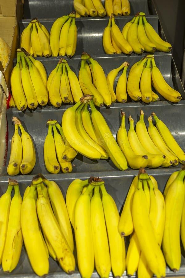 Bananer på räknaren i supermarket royaltyfria bilder