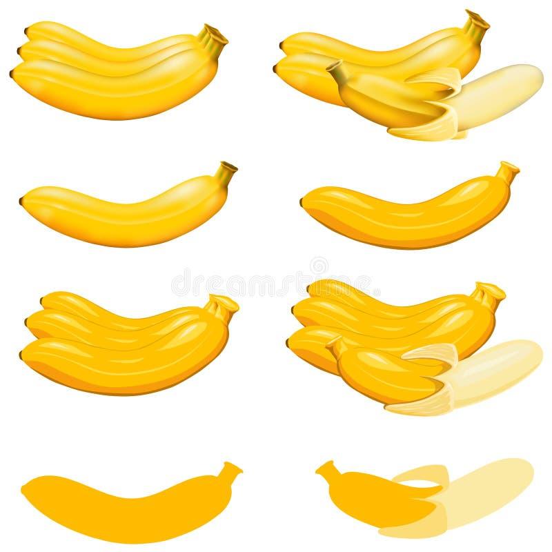 Bananes d'isolement sur blanc avec le chemin de coupure D'isolement sur le blanc avec le chemin de coupure illustration stock