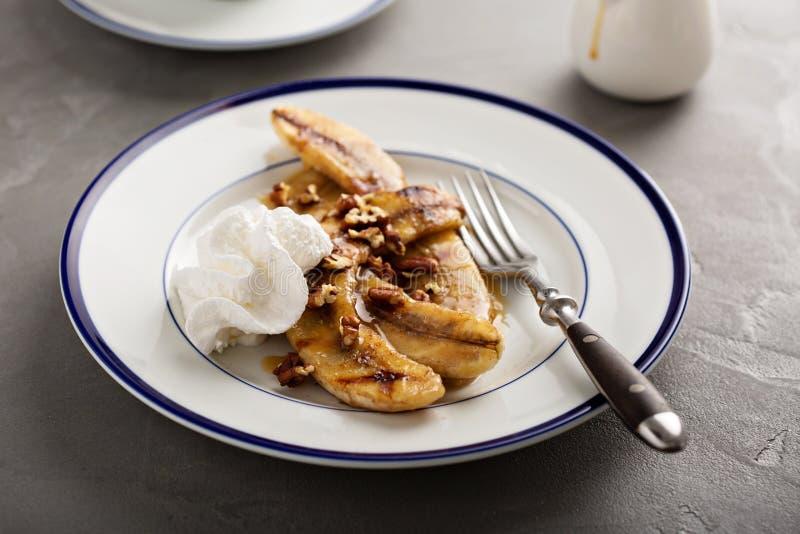 Bananes grillées pour le dessert photo libre de droits