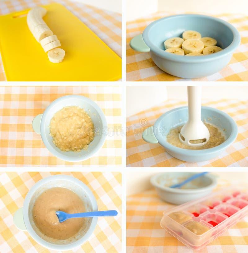 Bananes Préparation de l'aliment pour bébé, fait maison Concept sain d'enfants de nourriture photo stock