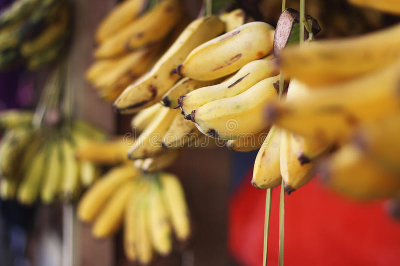 Bananes sur le marché photo stock