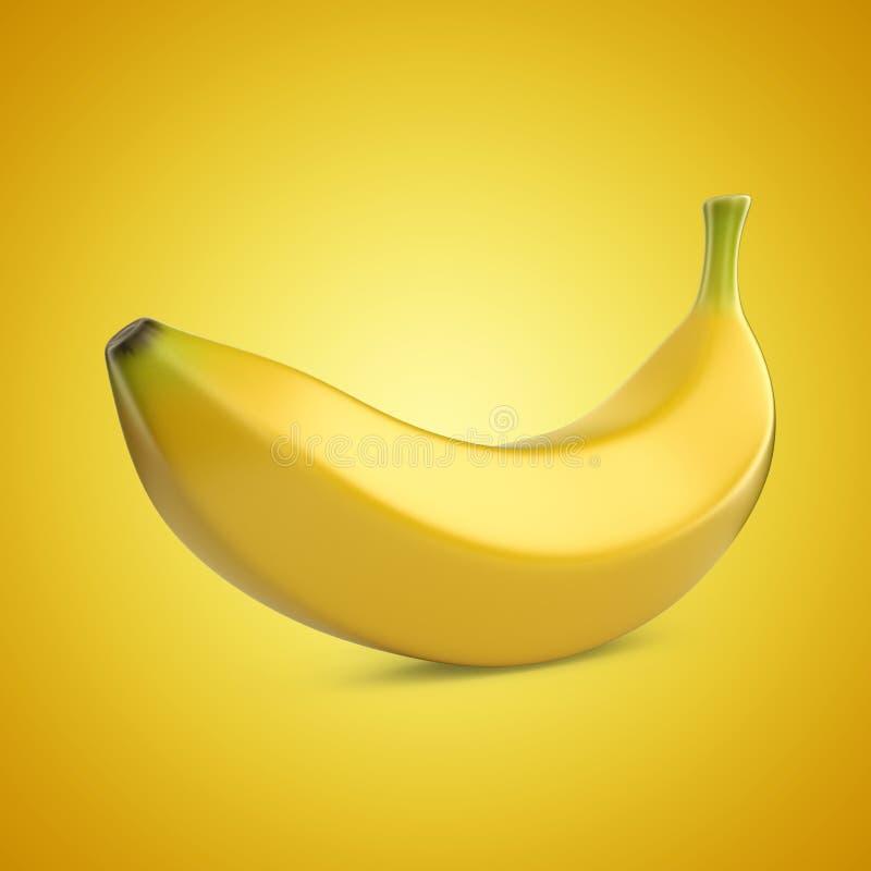 Bananfrukt på gul bakgrund illustration 3d royaltyfri illustrationer