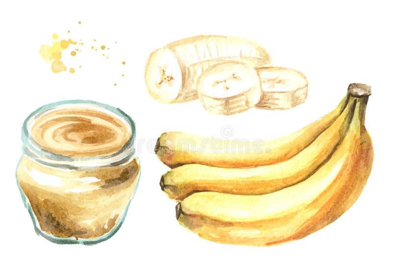 Banankr?m med gruppen av mogna bananer och skivade en upps?ttning Dragen illustration f?r vattenf?rg som hand isoleras p? vit bak stock illustrationer