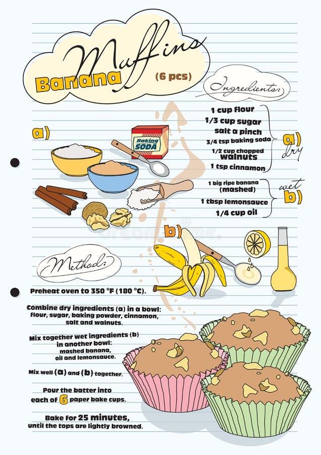 Bananmuffinrecept med föreställer av ingredienser stock illustrationer