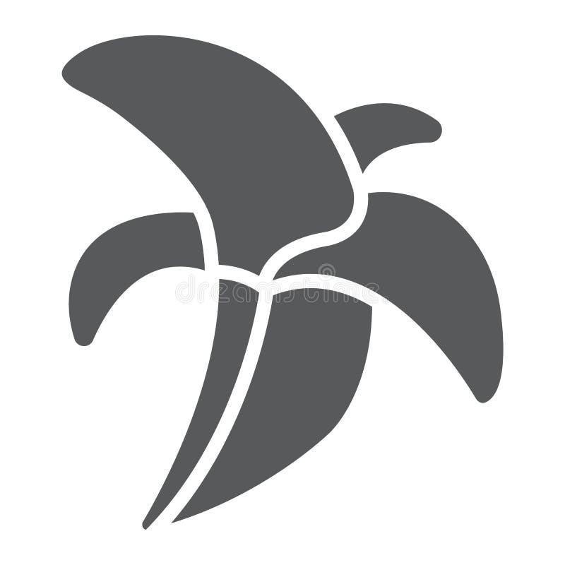 Bananowa glif ikona, jedzenie i witaminy, owoc znak, wektorowe grafika, bryła wzór na białym tle ilustracji