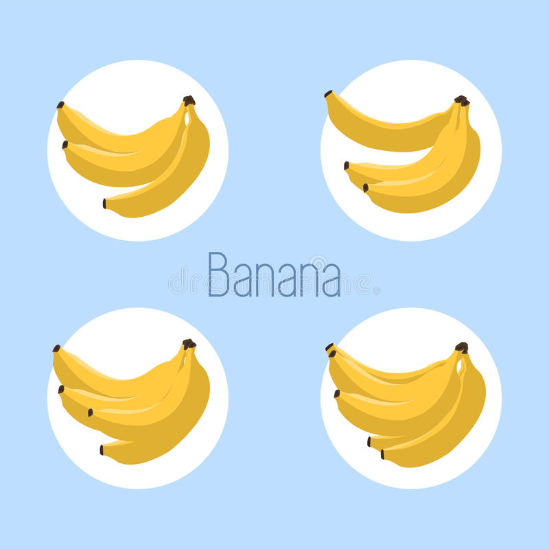 Bananowa ikona również zwrócić corel ilustracji wektora odosobniony Kolekcja banan ikony na błękitnym tle Prosty mieszkanie styl  royalty ilustracja