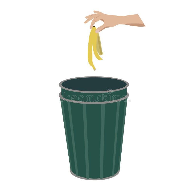 Bananowa skóra w ściółka koszu ilustracji