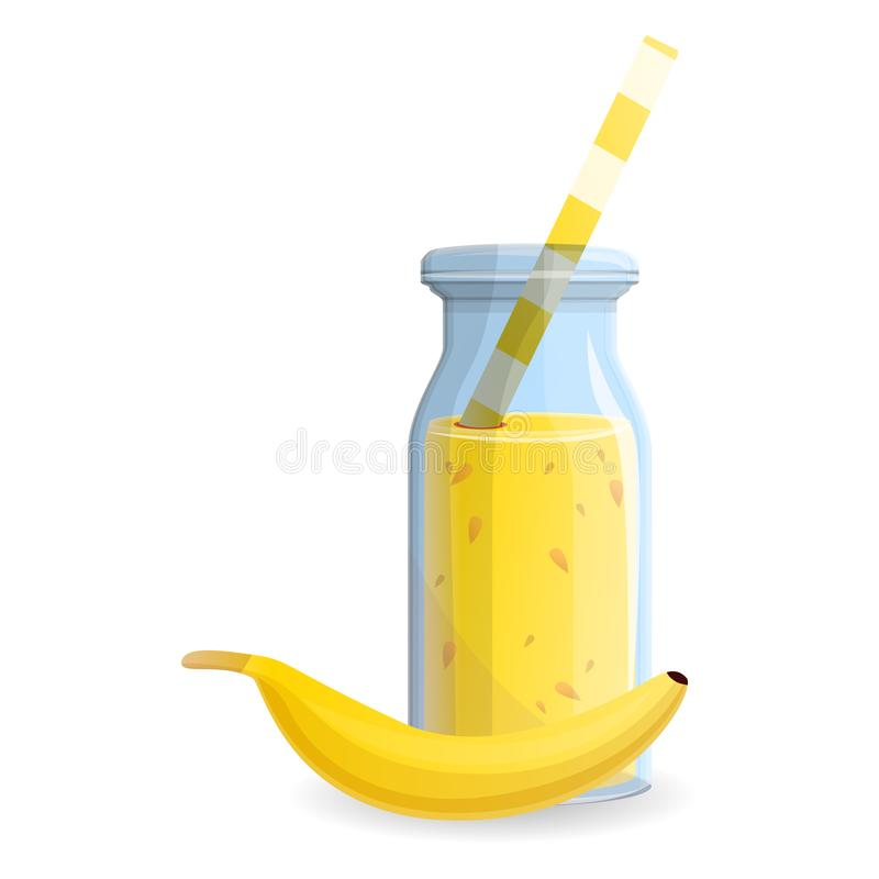 Bananowa smoothie butelki ikona, kreskówka styl royalty ilustracja